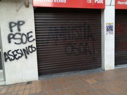 """PSE denuncia pintadas en sus sedes de Portugalete y Santurtzi y advierte de que """"tampoco ahora lograrán callarnos"""""""