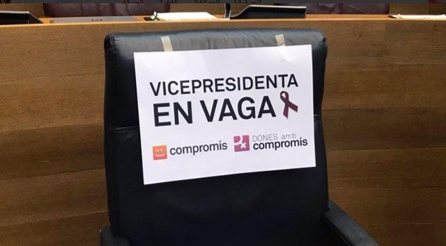 Escaño de Mónica Oltra en Les Corts Valencianes