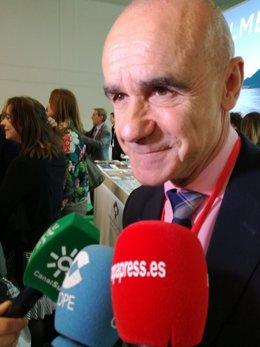 El delegado de Turismo del Ayuntamiento de Sevilla, Antonio Muñoz, en la ITB