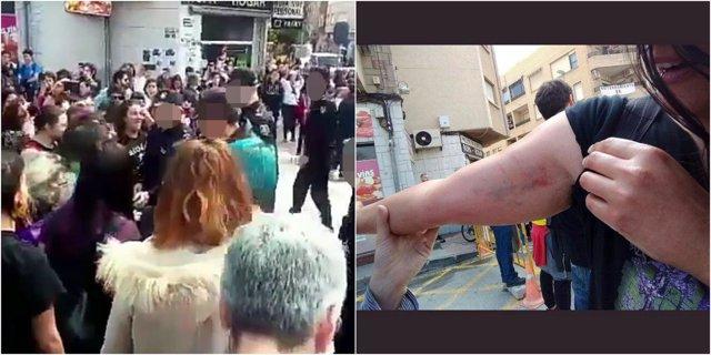 Imagen del momento del incidente y de una de las mujeres magulladas