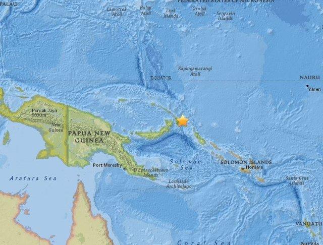 Terremoto de magnitud 7 frente a las costas de Papúa Nueva Guinea