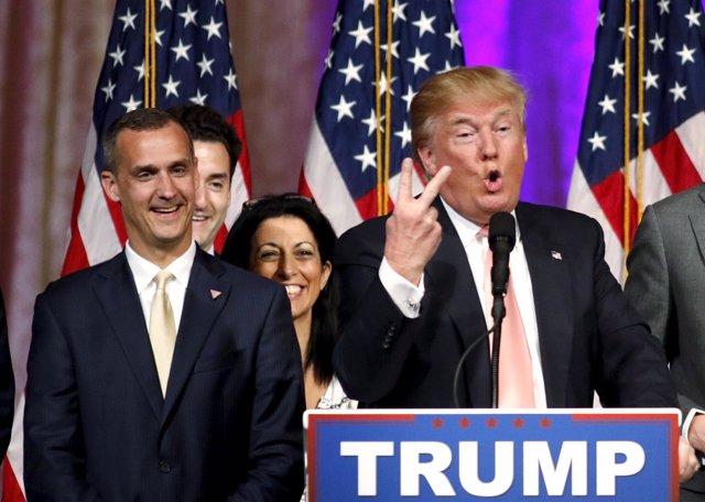 Donald Trump y su jefe de campaña, Corey Lewandowski