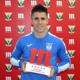 Unai Bustinza, mejor jugador del Leganés en febrero