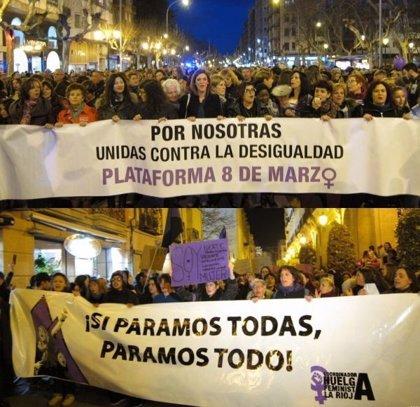 Dos manifestaciones recorren el centro de Logroño reclamando igualdad y corresponsabilidad en el cuidado