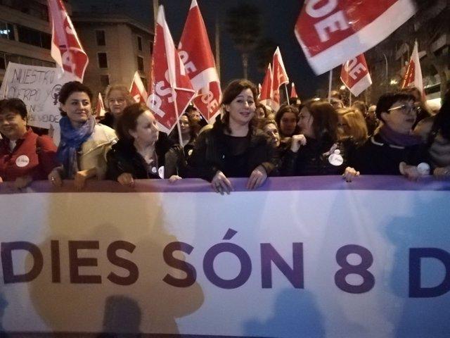 Armengol en la manifestación del 8 de marzo