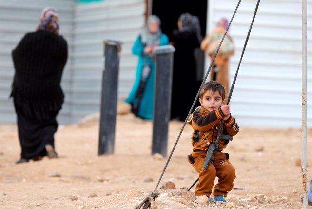 Refugiados sirios en el campo de Zaatari,en Jordania