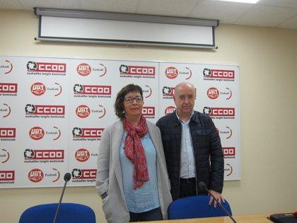 """UGT y CCOO de Euskadi llaman a """"doblegar"""" al Gobierno para que se derogue la reforma de 2013 que """"devalúa las pensiones"""""""