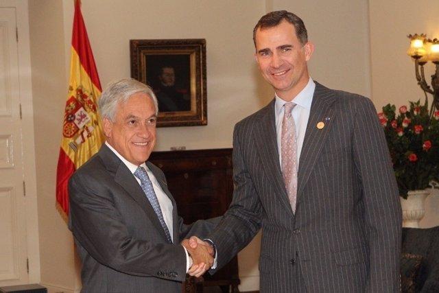 El Príncipe y Sebastián Piñera en 2014