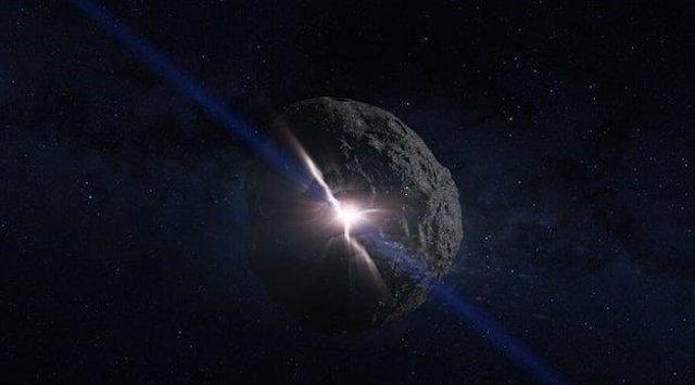 Recreación artística de la colisión con un asteroide