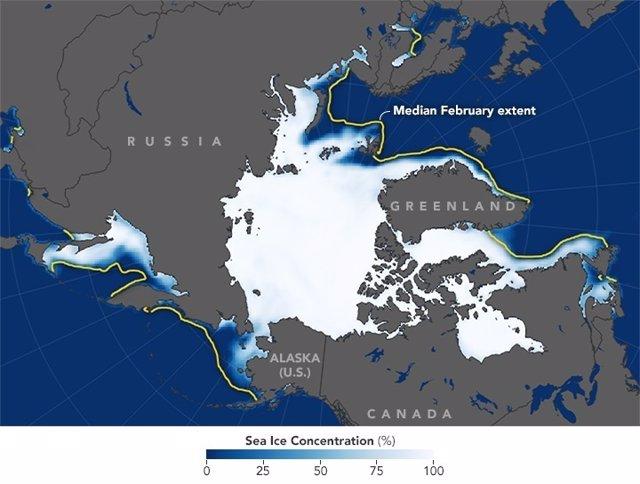Extensión de hielo en el  Ártico para febrero de 2018