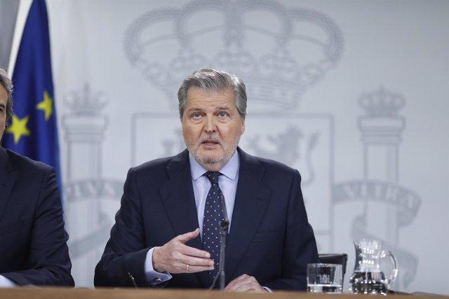 Iñigo Méndez de Vigo en la rueda de prensa al Consejo de Ministros