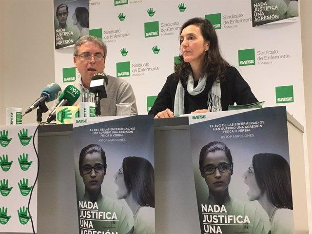 Francisco Muñoz y Reyes Zabala presentan una campaña de Satse contra agresiones