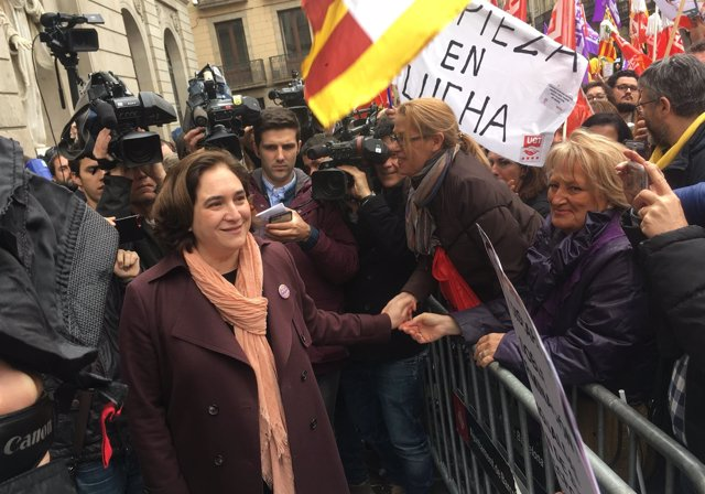 Ada Colau en la concentración del 8M en Barcelona