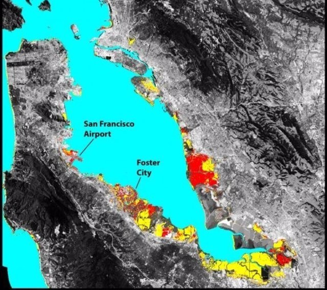 Zonas que quedarán sumergidas en la Bahía de San Francisco