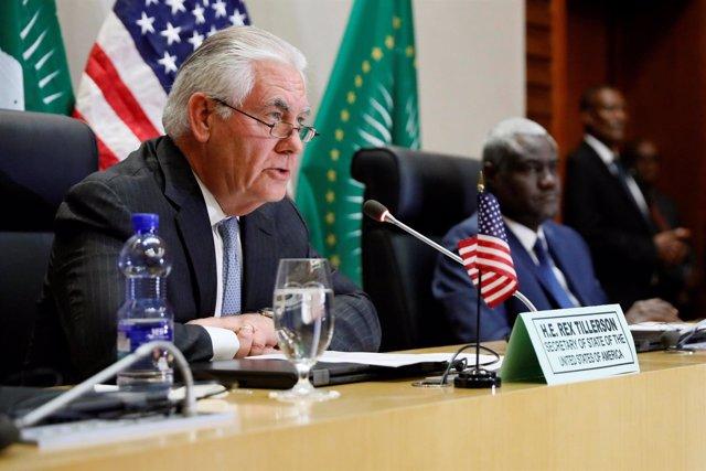 Foto de Rex Tillerson en una conferencia de prensa en Adís Abeba