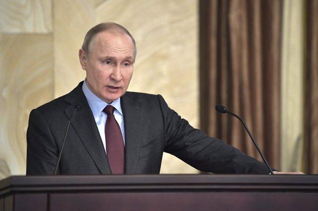 Vladimir Putin durante un discurso en Moscú