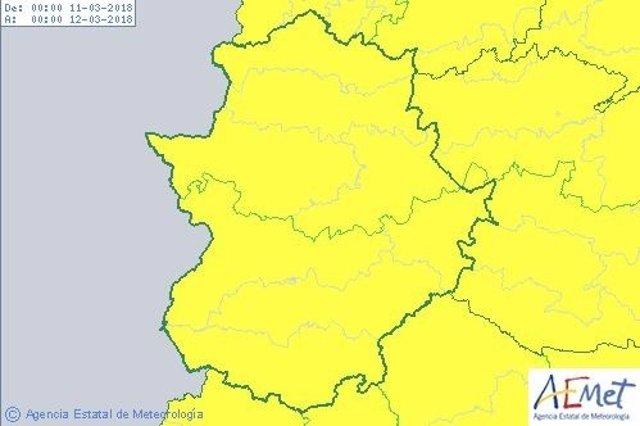 Avisos por lluvia, nieve y viento en Extremadura