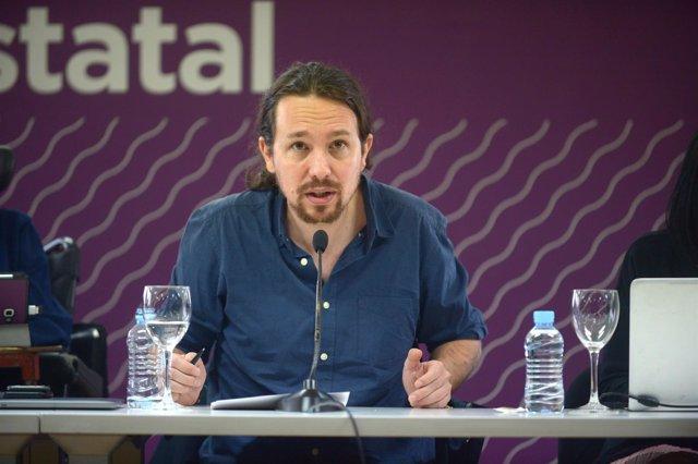 Pablo Iglesias, secretario general de Podemos, en el Consejo Ciudadano Estatal
