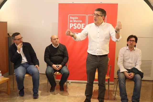 El secretario de Política Federal del PSOE, Patxi López, hoy en Cieza