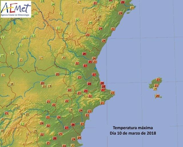 Temperaturas en la Comunitat Valenciana 10 de marzo