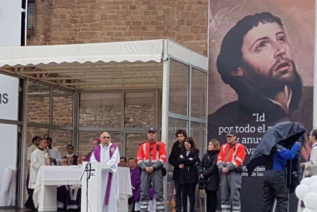 La familia de Juan José Salaberri, durante el homenaje en la Javierada 2018