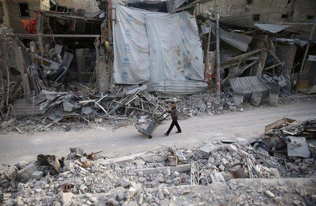 Edificios destruidos en Duma, Ghuta Oriental