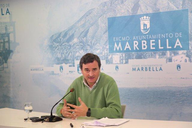 Félix Romero, portavoz del equipo de gobierno de Marbella en rueda de prensa