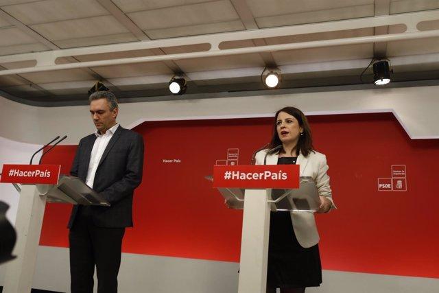 Adriana Lastra y Javier Izquierdo dan una rueda de prensa en la sede del PSOE