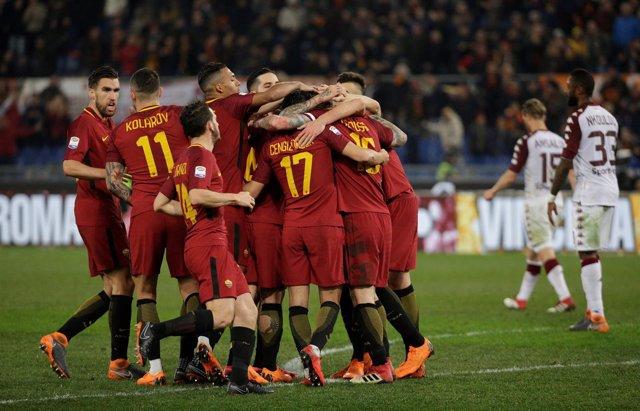 La Roma celebra un gol en el Estadio Olímpico