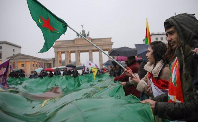 Manifestación kurda en Berlín