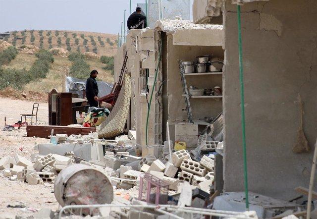 Consecuencias de un ataque con barril bomba en Deraa