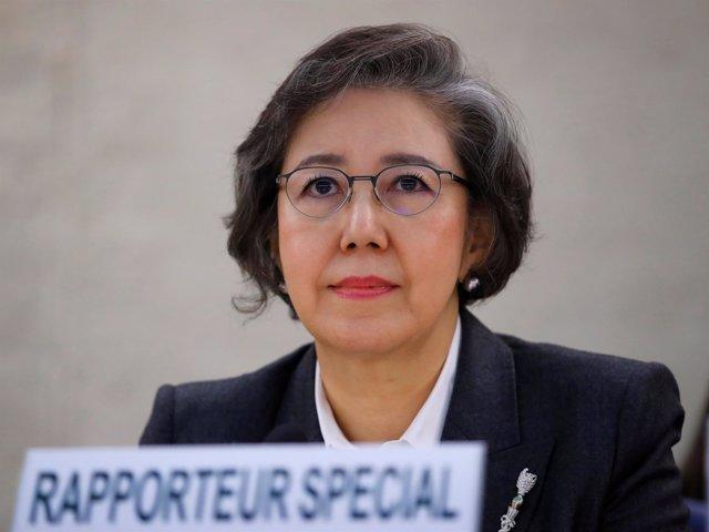 La relatora especial de la ONU, Yanghee Lee, en Ginebra.