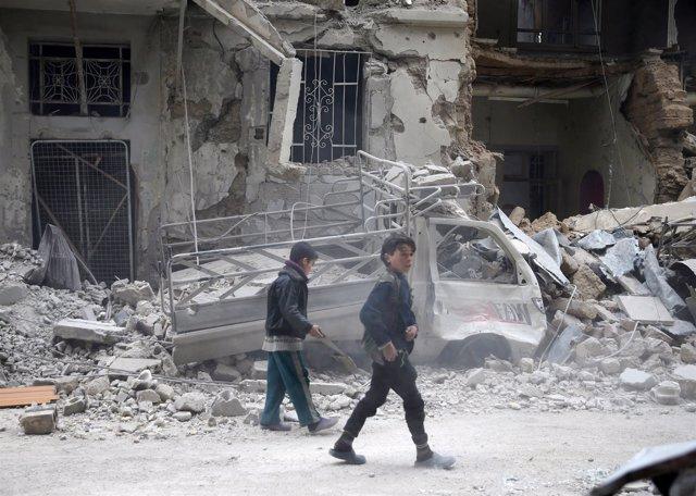 Niños en Duma (Siria)