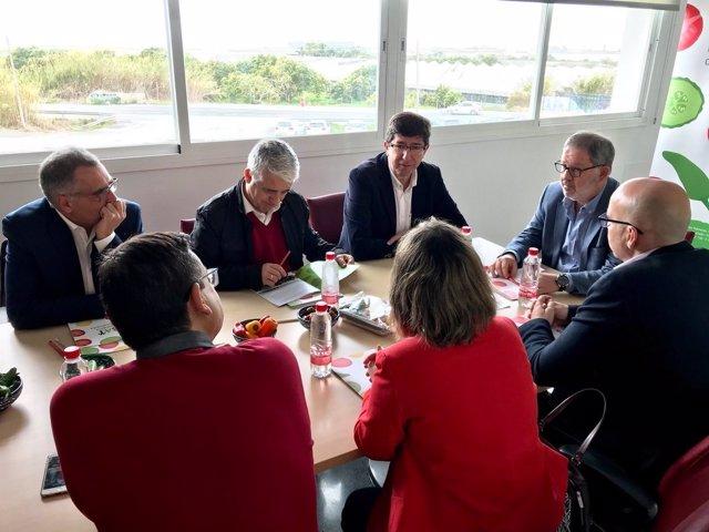 El portavoz de Cs en el Parlamento de Andalucía, Juan Marín, en Torrenueva