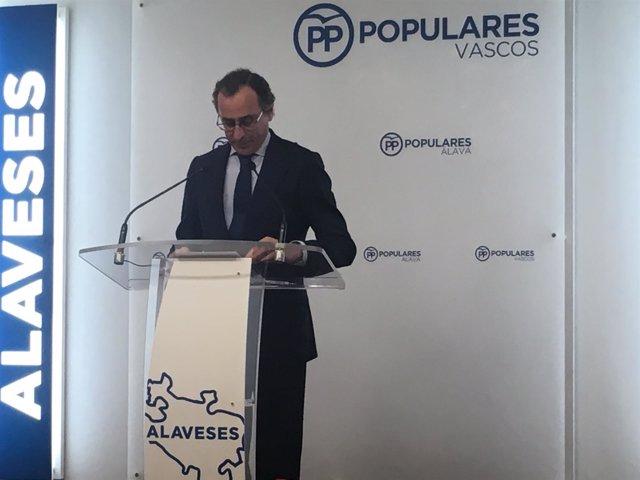 El presidente del PP vasco, Alfonso Alonso,