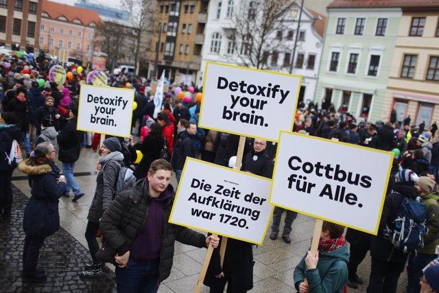 Foto de archivo de una manifestación contra la discriminación en Alemania