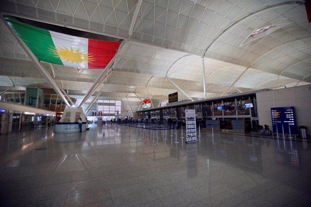 El Aeropuerto Internacional de Erbil (Kurdistán iraquí), vacío de pasajeros