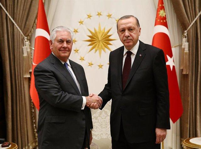 Recep Tayyip Erdogan y  Rex Tillerson