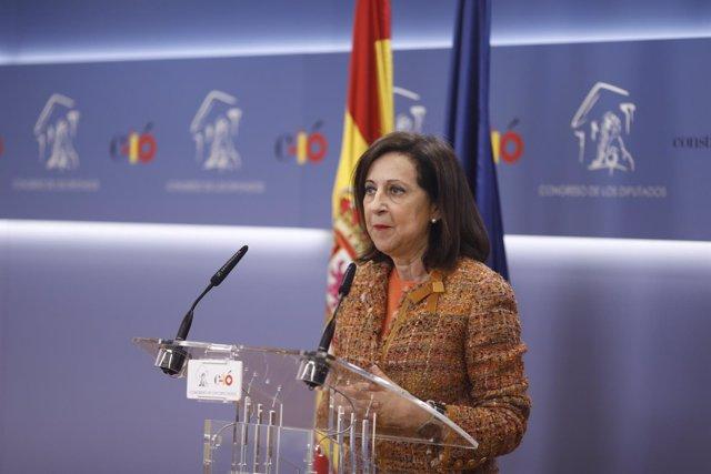 Rueda de prensa en el Congreso de la portavoz del PSOE, Margarita Robles