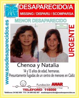 Cartel de búsqueda de las menores Chenoa y Natalia