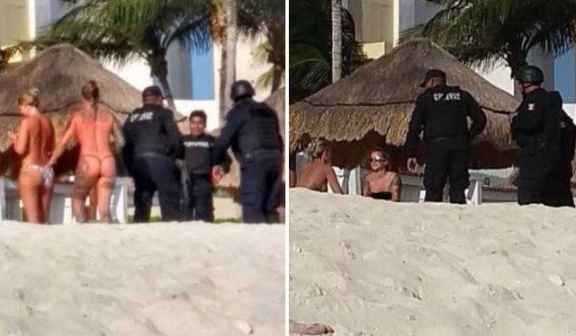 Grupo de policías estatales de México se toman fotos con turistas en topless