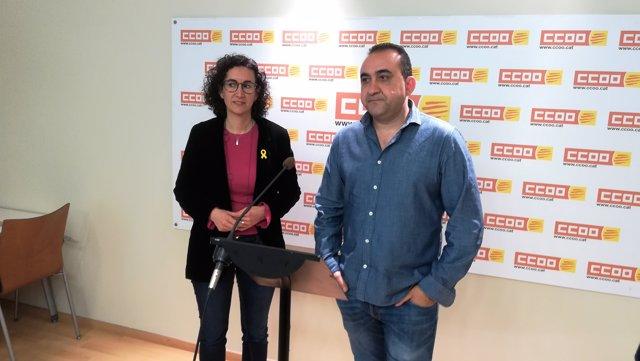 La líder de ERC Marta Rovira, el de CC.OO. Catalunya Javier Pacheco