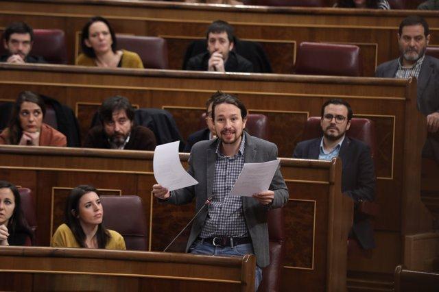 Pablo Iglesias en la sesión de control al Gobierno en el Congreso