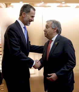 Encuentro del Rey con el secretario general de la ONU, el pasado junio
