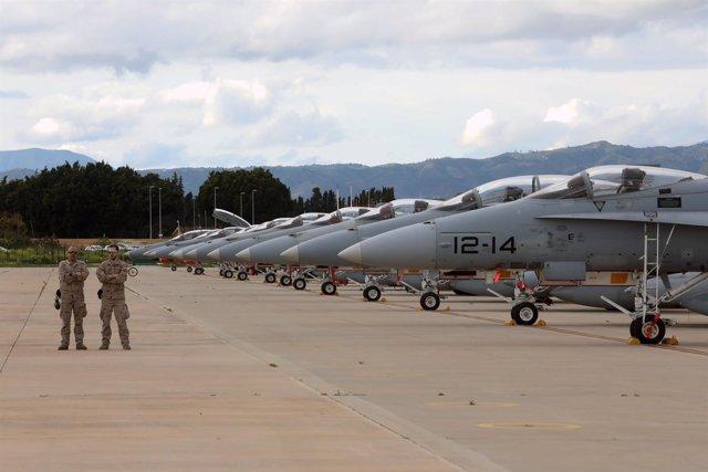 Aviones militares para hacer un ejercicio en Málaga