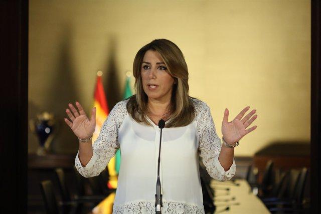 Susana Díaz, este miércoles en el Palacio de San Telmo