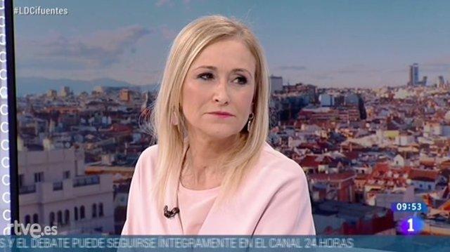 Cristina Cifuentes en una entrevista en TVE