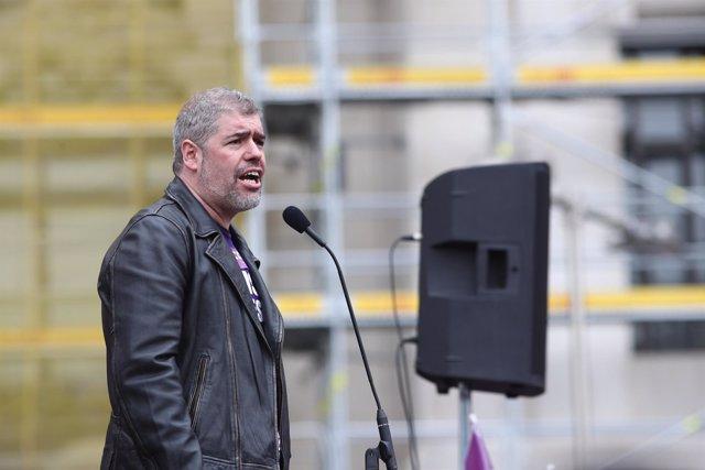 Unai Sordo hace declaraciones en la concetración en Cibeles (Madrid)