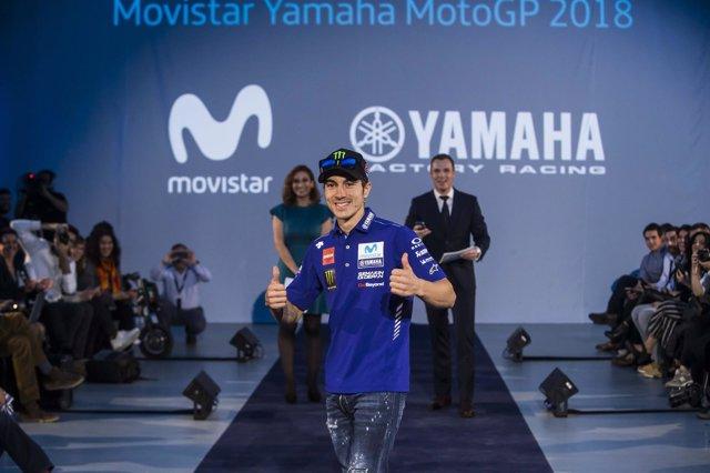 Maverick Viñales (Yamaha) en la presentación del equipo