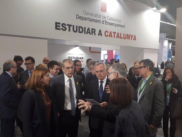 L.Ortiz, P.Villòria, L.Baulenas y A.Navarro en la visita Salón de la Enseñanza